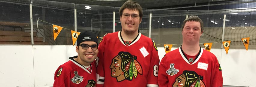 Three NWCSRA participants supporting the Chicago Blackhawks.